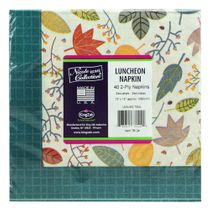 Teal Leaves Fall Thanksgving Lunch Napkins 40ct.