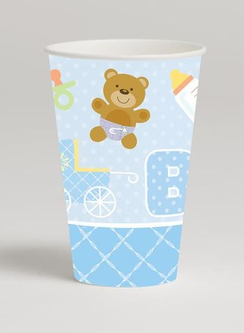 Teddy Baby Blue 12 Oz Hot/Cold Cup, 8 Count