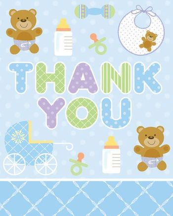 Teddy Baby Blue Thank You's, 8 Count