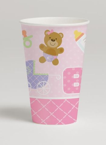 Teddy Baby Pink 12 Oz Hot/Cold Cup, 8 Count