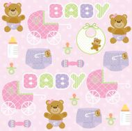 Teddy Baby Pink 3-Ply Beverage Napkins, 16 count