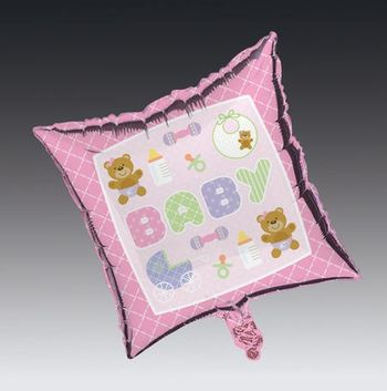 Teddy Baby Pink Square Metallic Balloon