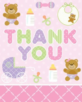 Teddy Baby Pink Thank You's, 8 Count