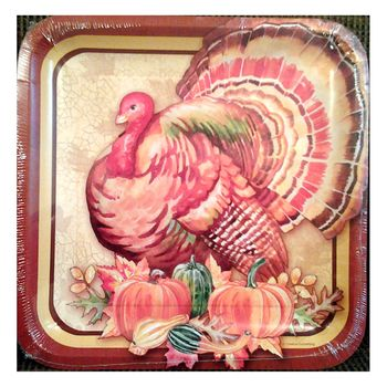 "Thanksgiving Feast Turkey 9"" Luncheon Square Paper Plate 20ct."
