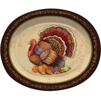 "Thanksgiving Splendor 12"" Oval Plates/Platters 8ct."