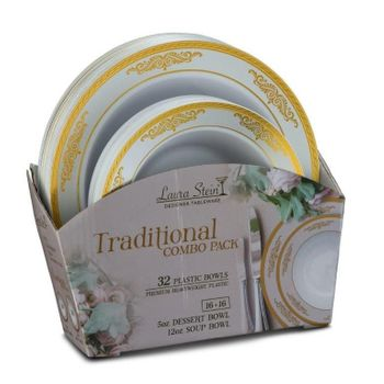 Traditional Tableware Set of 32 White Bowls w/Gold Border