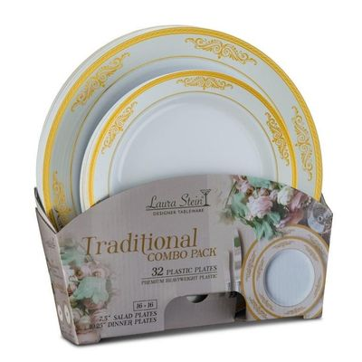 Traditional Tableware Set of 32 White Party Plates w/Gold Border