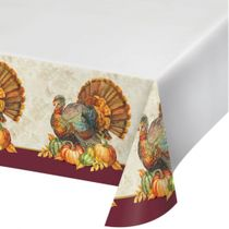"Traditional Thanksgiving Turkey Plastic Tablecloth 54"" x 102"""
