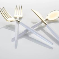 Trendables Two Tone White / Gold Plastic Knives Wedding Cutlery 20ct.