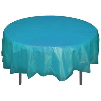 "Turquoise 84"" Round Plastic Tablecloths Table Covers"