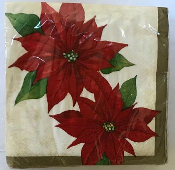Twin Poinsettia Christmas and Holiday Luncheon Napkins 40 ct.
