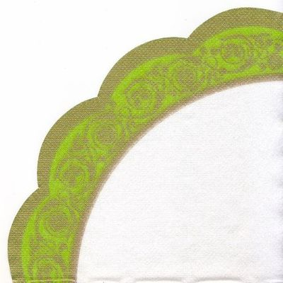 Venetian Apple Green Border Rice Paper Napkins 15ct.