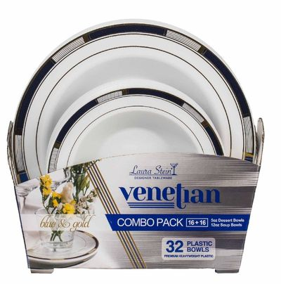 Venetian Collection Combo Pack - White w/Blue & Gold Border Plastic Dinner and Salad Plates, 32 count