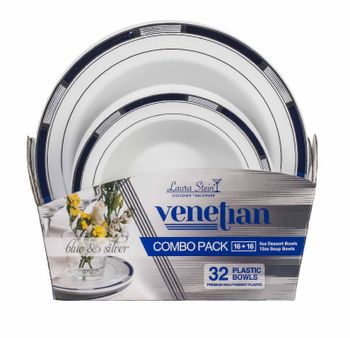 Venetian Collection Combo Pack - White w/Blue & Silver Border Plastic Dinner and Salad Plates, 32 count