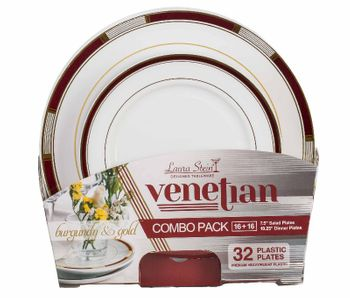 Venetian Collection Combo Pack - White w/Burgundy & Gold Border Plastic Dinner and Salad Plates, 32 count