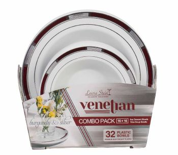 Venetian Collection Combo Pack - White w/Burgundy & Silver Border Dinner and Salad Plates, 32 count