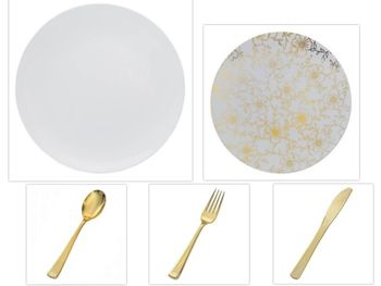 """Versa Design Collection White 10.25"""" Dinner Plastic Plates + White w/ Gold Floral 8"""" Salad Plastic Plates + Gold Cutlery *Party of 120*"""