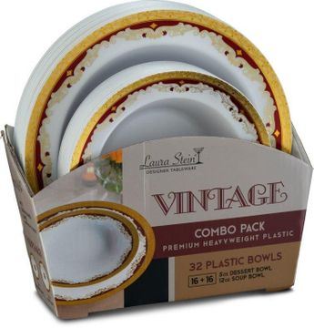 Vintage Collection Tableware Set of 32 White Bowls w/Gold and Burgundy Border