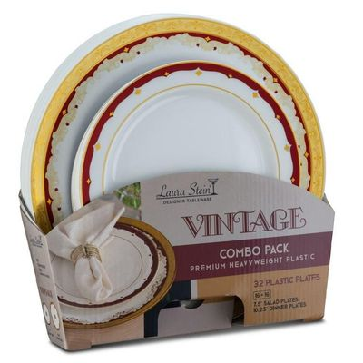 Vintage Collection Tableware Set of 32 White Party Plates w/Gold and Burgundy Border