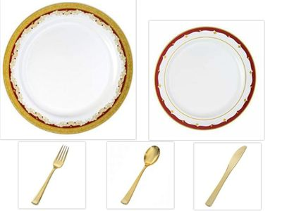 """Vintage Collection White w/ Gold & Burgundy Border China-Like Plastic 10.25"""" Dinner Plates + 7"""" Salad Plates + Cutlery *Party for 120*"""