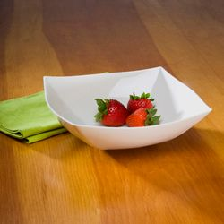 White 64oz. Square Plastic Serving Bowls