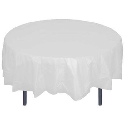"White 84"" Round Plastic Tablecloths"