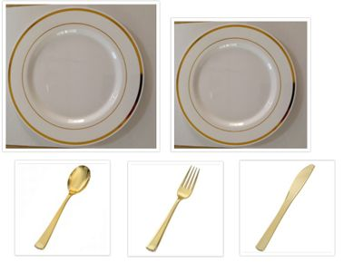 """White w/Gold Band China-Like Plastic 10"""" Dinner Plates + 7"""" Salad Plates + Cutlery *Party for 100*"""