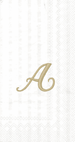"""White w/ Gold Monogram """"A"""" Guest Towels 16ct."""