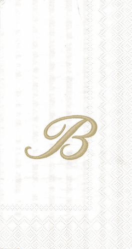 """White w/ Gold Monogram """"B"""" Guest Towels 16ct."""