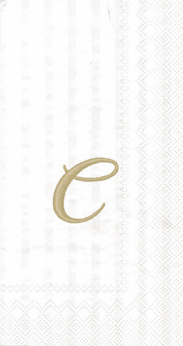 "White w/ Gold Monogram ""C"" Guest Towels 16ct."