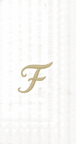"""White w/ Gold Monogram """"F"""" Guest Towels 16ct."""