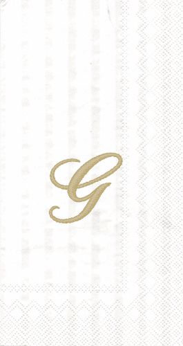 """White w/ Gold Monogram """"G"""" Guest Towels 16ct."""