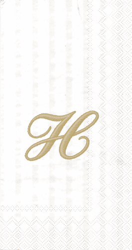 """White w/ Gold Monogram """"H"""" Guest Towels 16ct."""