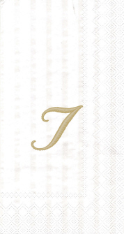 """White w/ Gold Monogram """"I"""" Guest Towels 16ct."""