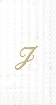 """White w/ Gold Monogram """"J"""" Guest Towels 16ct."""
