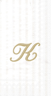 """White w/ Gold Monogram """"K"""" Guest Towels 16ct."""