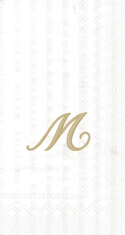 """White w/ Gold Monogram """"M"""" Guest Towels 16ct."""