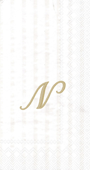 """White w/ Gold Monogram """"N"""" Guest Towels 16ct."""