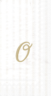 """White w/ Gold Monogram """"O"""" Guest Towels 16ct."""