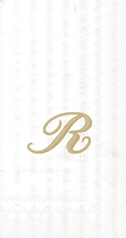 """White w/ Gold Monogram """"R"""" Guest Towels 16ct."""