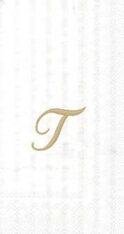 "White w/ Gold Monogram ""T"" Guest Towels 16ct."