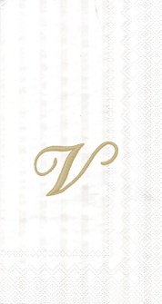 """White w/ Gold Monogram """"V"""" Guest Towels 16ct."""