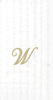 """White w/ Gold Monogram """"W"""" Guest Towels 16ct."""