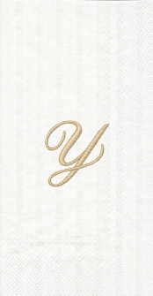 """White w/ Gold Monogram """"Y"""" Guest Towels 16ct."""