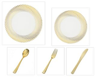 "Plexware Collection White w/Gold Swirl Rim China-Like Plastic 10"" Dinner Plates + 7"" Salad Plates + Cutlery *Party for 100*"