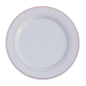 "White w/ Rose Gold Band 10.25"" Banquet Plastic Plates, 10ct."