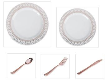 "White w/ Rose Gold Oval Border 10.25"" Dinner Plates + 7.5"" Salad Plates + Cutlery *Party of 100*"