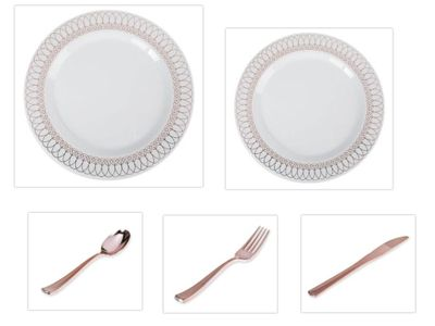 "White w/ Rose Gold Oval Border 10.25"" Dinner Plates + 7.5"" Salad Plates + Cutlery *Party of 40*"