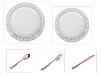 "White w/ Rose Gold Oval Border 10.25"" Dinner Plates + 7.5"" Salad Plates + Cutlery *Party of 60*"