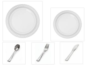 "White w/ Silver Oval Border 10.25"" Dinner Plates + 7.5"" Salad Plates + Cutlery *Party of 120*"